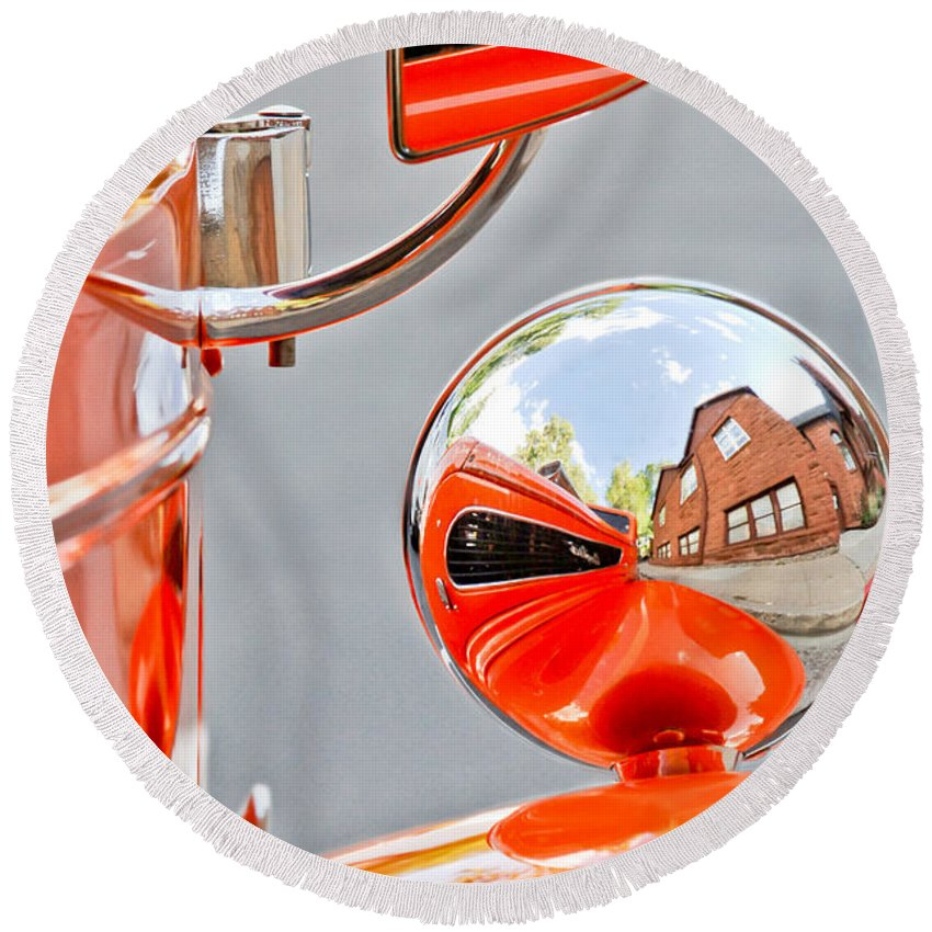 1948 Anglia Rearview Mirror Round Beach Towel featuring the photograph 1948 Anglia Rear View Mirror -451c by Jill Reger