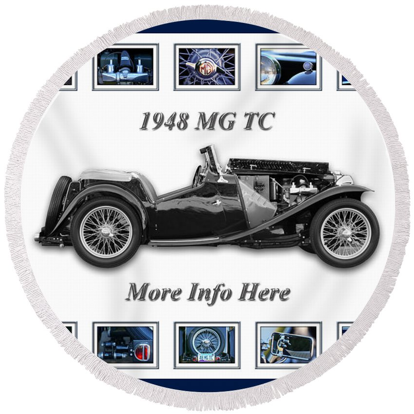 1948 Mg Tc Art Round Beach Towel featuring the photograph 1948 Mg Tc by Jill Reger