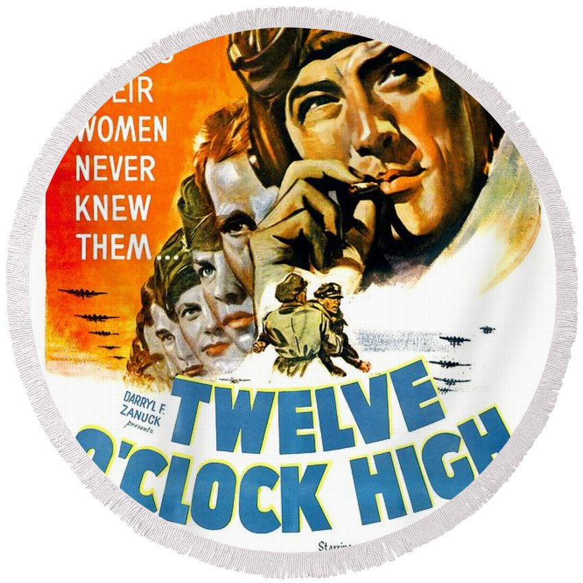 1947 Round Beach Towel featuring the digital art 1949 - Twelve O Clock High Movie Poster - Gregory Peck - Dean Jagger - 20th Century Pictures - Color by John Madison