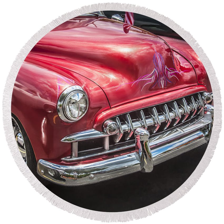 Engine Round Beach Towel featuring the photograph 1949 Chevrolet by Rich Franco