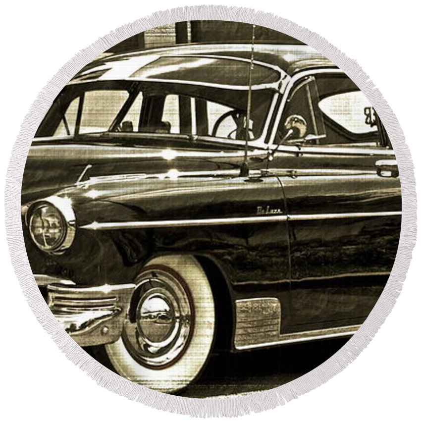 1950 Chevy Round Beach Towel featuring the photograph 1950 Chevrolet by Gwyn Newcombe
