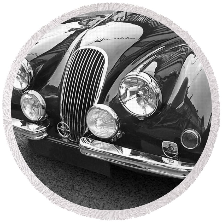 Jaguar Car Round Beach Towel featuring the photograph 1951 Jaguar Xk120 In Black And White by Gill Billington