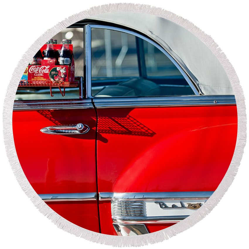 1953 Chevrolet Belair Convertible Round Beach Towel featuring the photograph 1953 Chevrolet Belair Convertible by Jill Reger