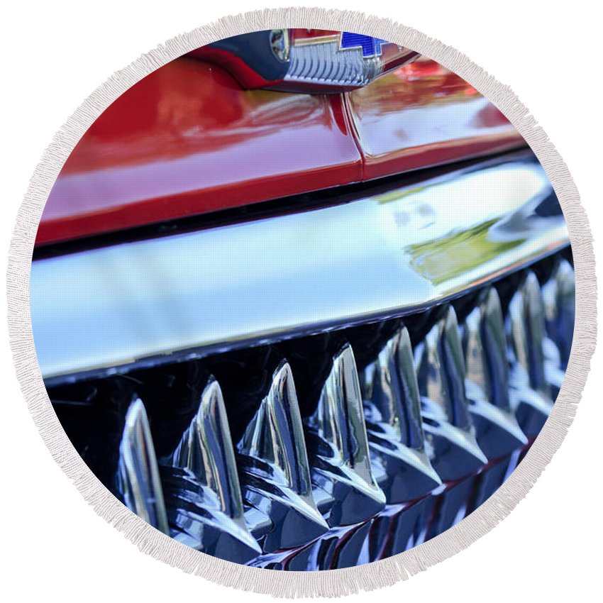 1953 Chevrolet Round Beach Towel featuring the photograph 1953 Chevrolet Grille Emblem by Jill Reger