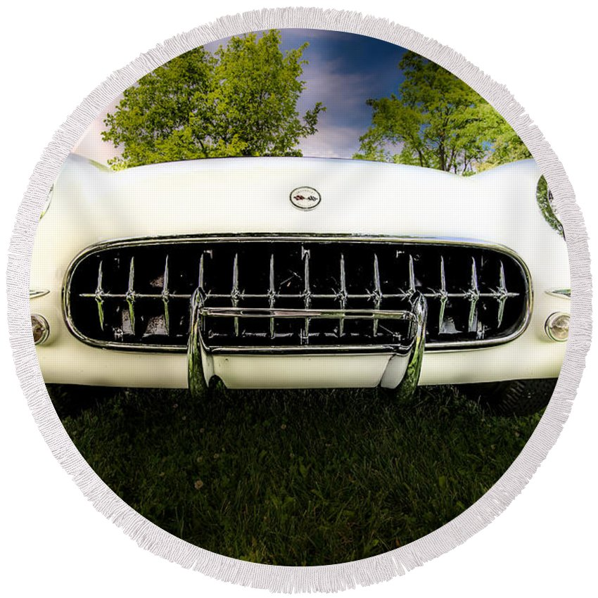 1954 Chevrolet Corvette Stingray Round Beach Towel featuring the photograph 1954 Corvette Stingray by Onyonet Photo Studios