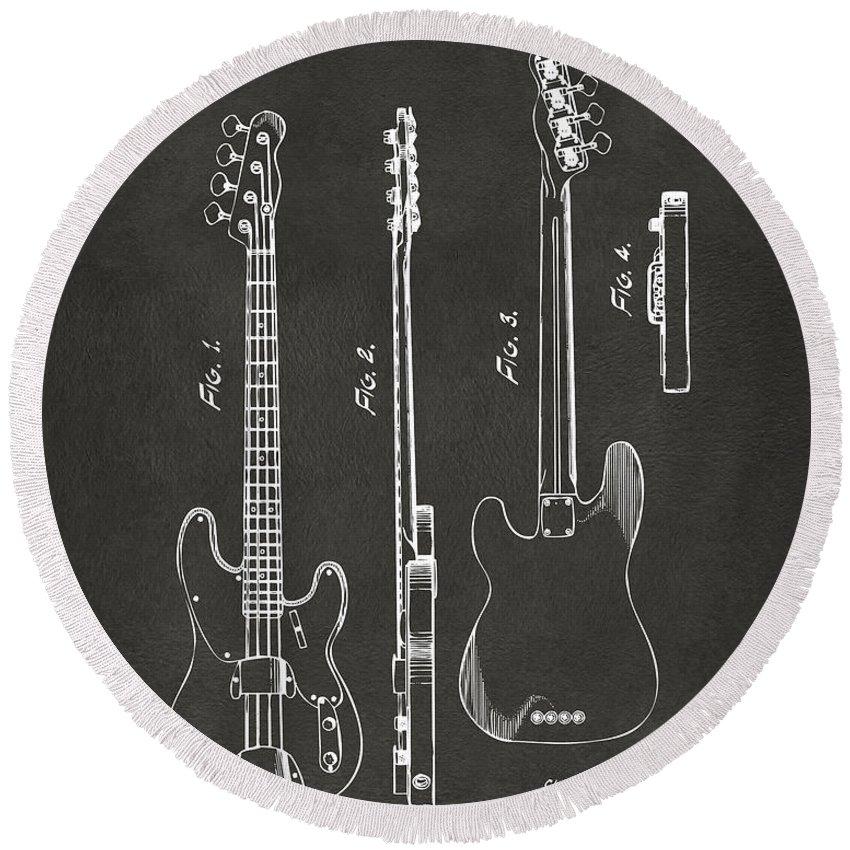 Fender Guitar Round Beach Towel featuring the digital art 1953 Fender Bass Guitar Patent Artwork - Gray by Nikki Marie Smith