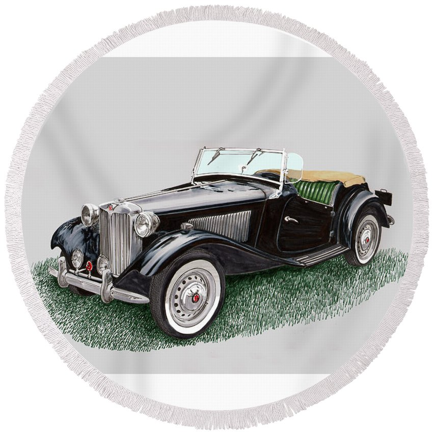 A Watercolor Painting Of A 1953 Mg Td Round Beach Towel featuring the painting Mg T D 1953 by Jack Pumphrey
