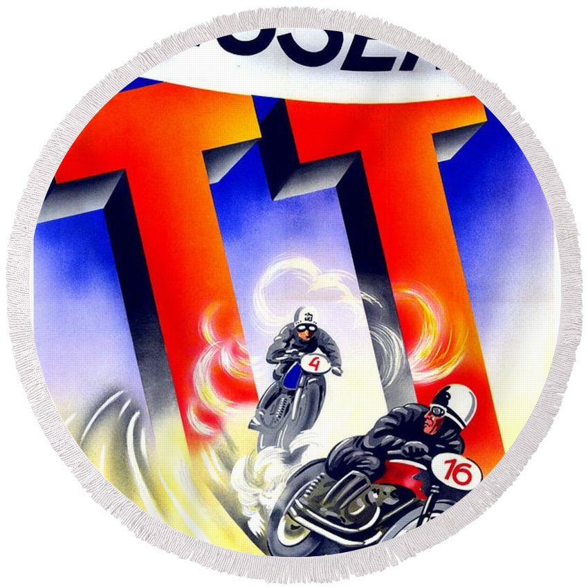 1954 Round Beach Towel featuring the digital art 1954 - Assen Tt Motorcycle Poster - Color by John Madison