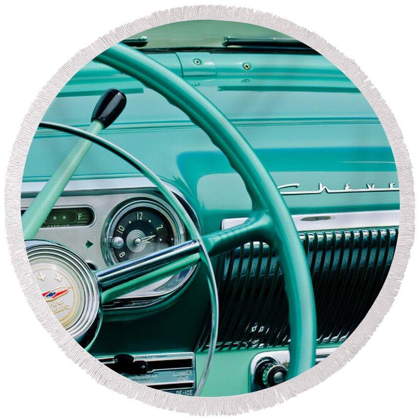 1954 Chevrolet Belair Steering Wheel Round Beach Towel featuring the photograph 1954 Chevrolet Belair Steering Wheel 3 by Jill Reger