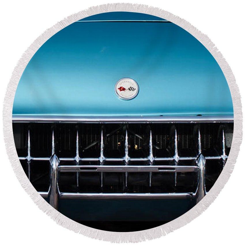 1954 Chevrolet Corvette Grille Emblem Round Beach Towel featuring the photograph 1954 Chevrolet Corvette Grille Emblem -249c by Jill Reger