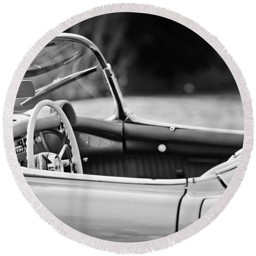 1954 Chevrolet Corvette Steering Wheel Round Beach Towel featuring the photograph 1954 Chevrolet Corvette Steering Wheel -407bw by Jill Reger