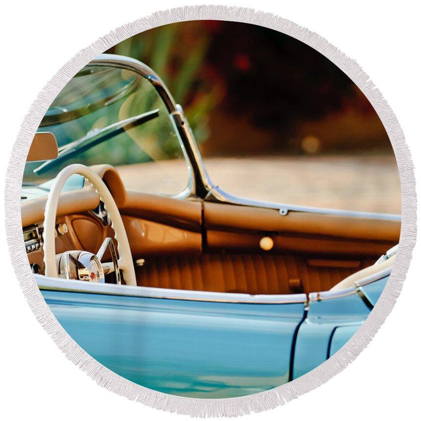 1954 Chevrolet Corvette Steering Wheel Round Beach Towel featuring the photograph 1954 Chevrolet Corvette Steering Wheel -407c by Jill Reger