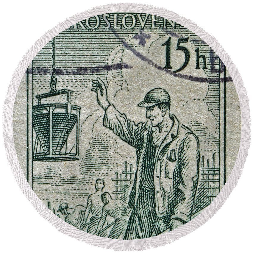 1954 Round Beach Towel featuring the photograph 1954 Czechoslovakian Construction Worker Stamp by Bill Owen