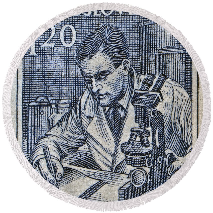 1954 Round Beach Towel featuring the photograph 1954 Czechoslovakian Scientist Stamp by Bill Owen