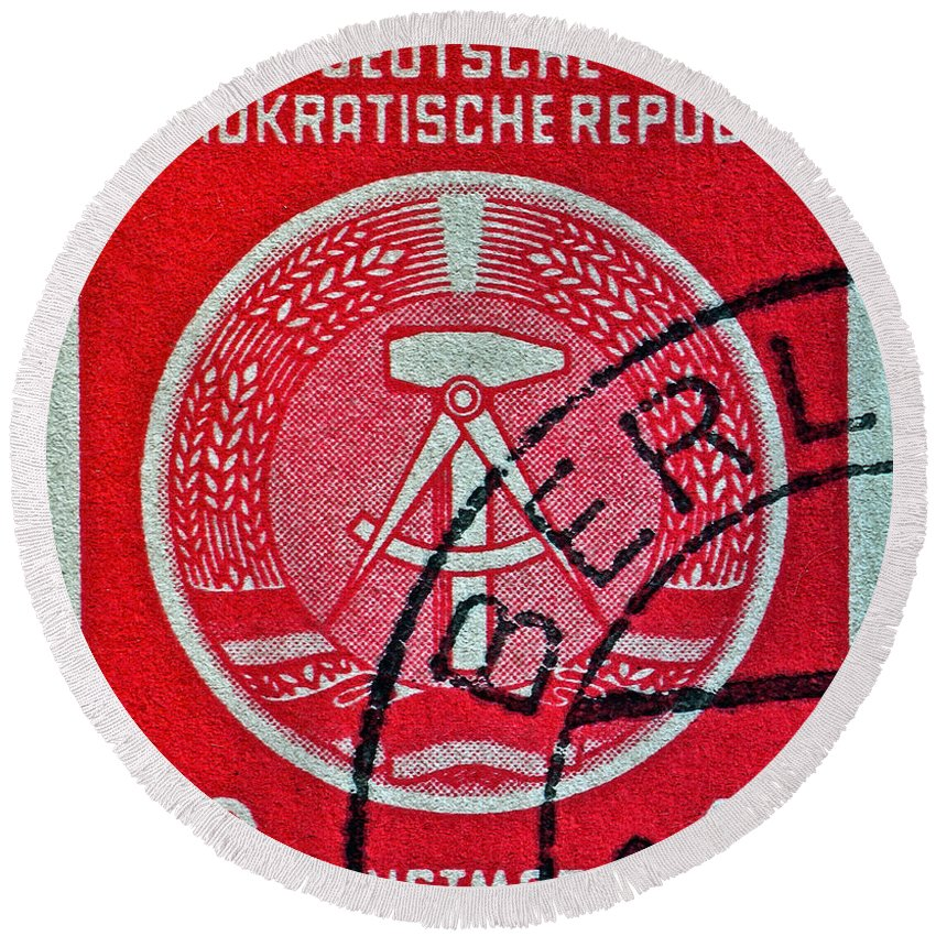 1954 German Democratic Republic Stamp Round Beach Towel featuring the photograph 1954 German Democratic Republic Stamp - Berlin Cancelled by Bill Owen