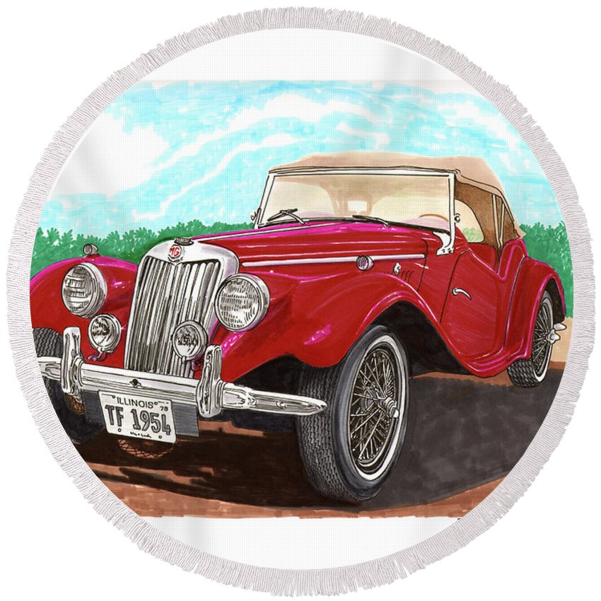 Jacks Car Artwork Of The 1954 Mg Tf The Performance Of The Tf Was Acceptable Round Beach Towel featuring the painting 1954 M G T F by Jack Pumphrey