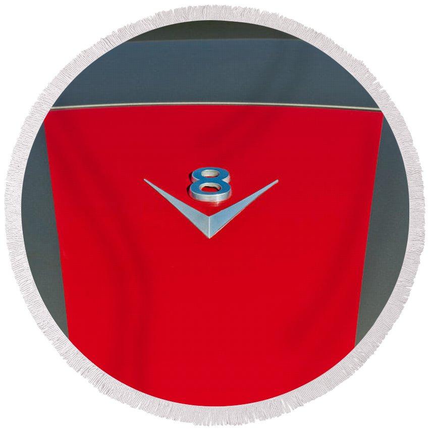 1955 Fiat 8v Zagato Hood Emblem Round Beach Towel featuring the photograph 1955 Fiat 8v Zagato Hood Emblem by Jill Reger