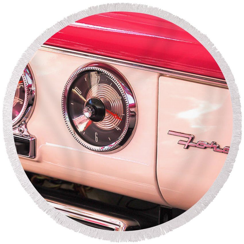 1955 Ford Crown Victoria Fordomatic Emblem Round Beach Towel featuring the photograph 1955 Ford Crown Victoria Fordomatic Emblem by Jill Reger