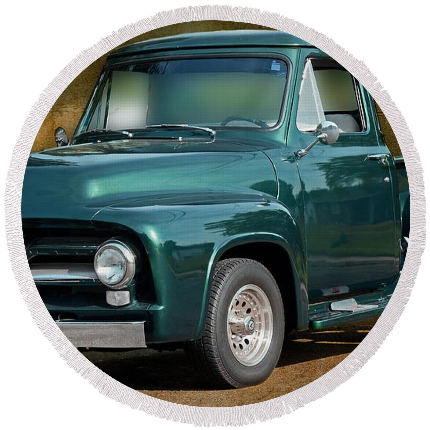 1955 Ford Truck Round Beach Towel featuring the photograph 1955 Ford Truck by Carlos Diaz