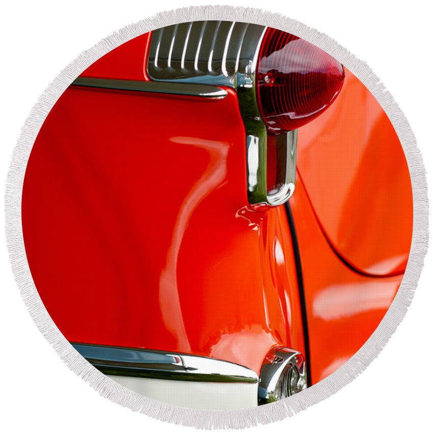 1955 Oldsmobile Round Beach Towel featuring the photograph 1955 Oldsmobile Taillight by Jill Reger