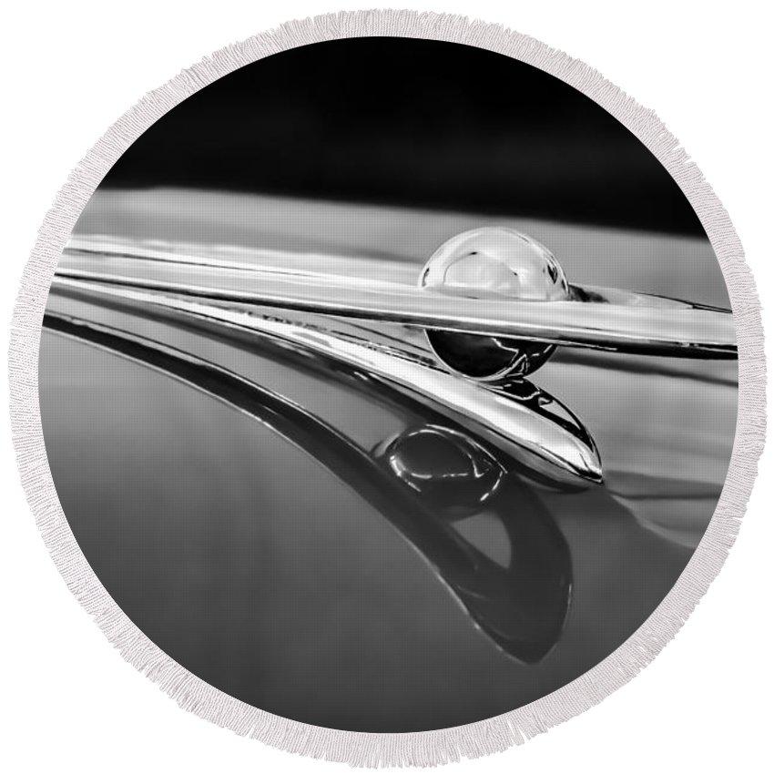 1955 Packard Clipper Round Beach Towel featuring the photograph 1955 Packard Clipper Hood Ornament 5 by Jill Reger