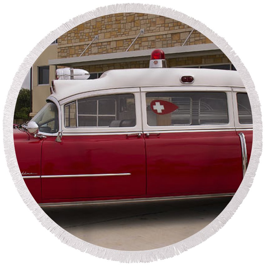 1955 Round Beach Towel featuring the photograph 1955 Superior Cadillac Passenger Ambulance by Debby Richards