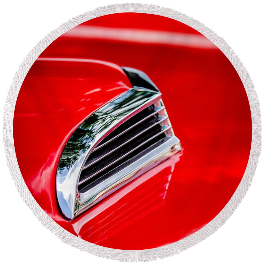 1956 Ford Thunderbird Hood Scoop Round Beach Towel featuring the photograph 1956 Ford Thunderbird Hood Scoop -287c by Jill Reger