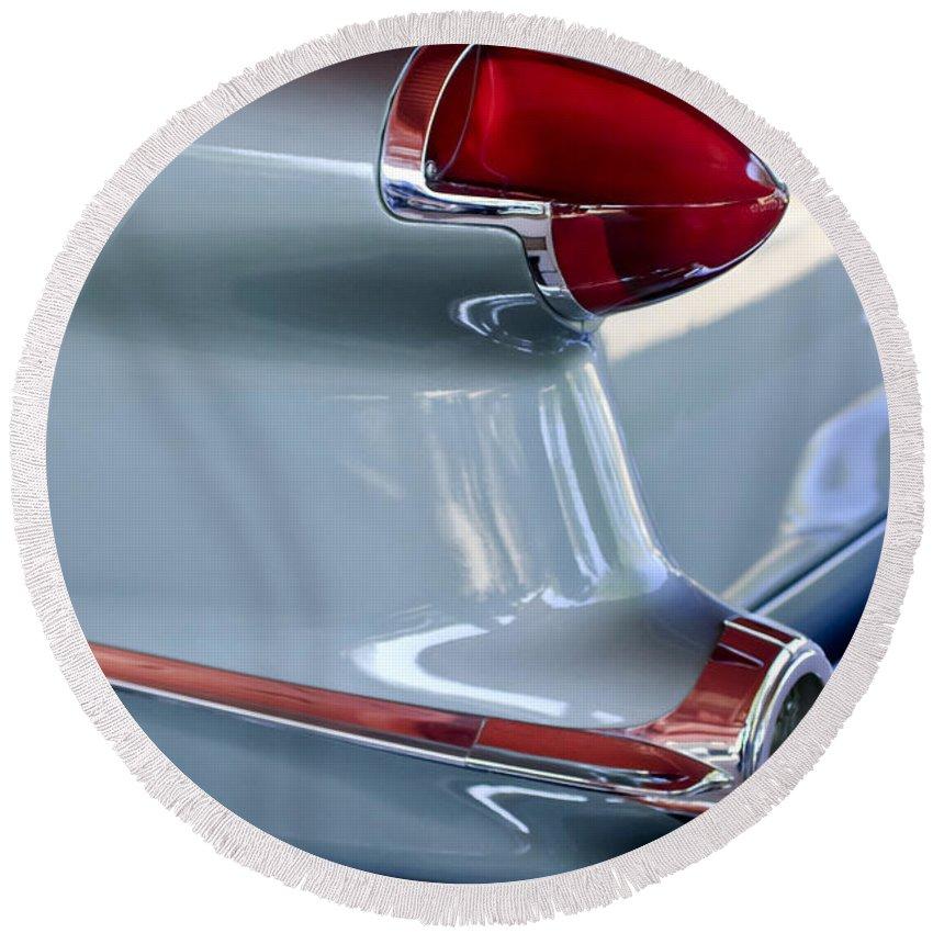 1956 Oldsmobile Taillight Round Beach Towel featuring the photograph 1956 Oldsmobile Taillight by Jill Reger