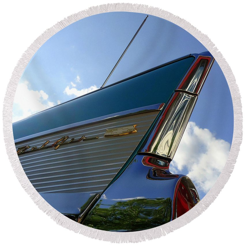 Joseph Skompski Round Beach Towel featuring the photograph 1957 Chevrolet Bel Air Fin by Joseph Skompski