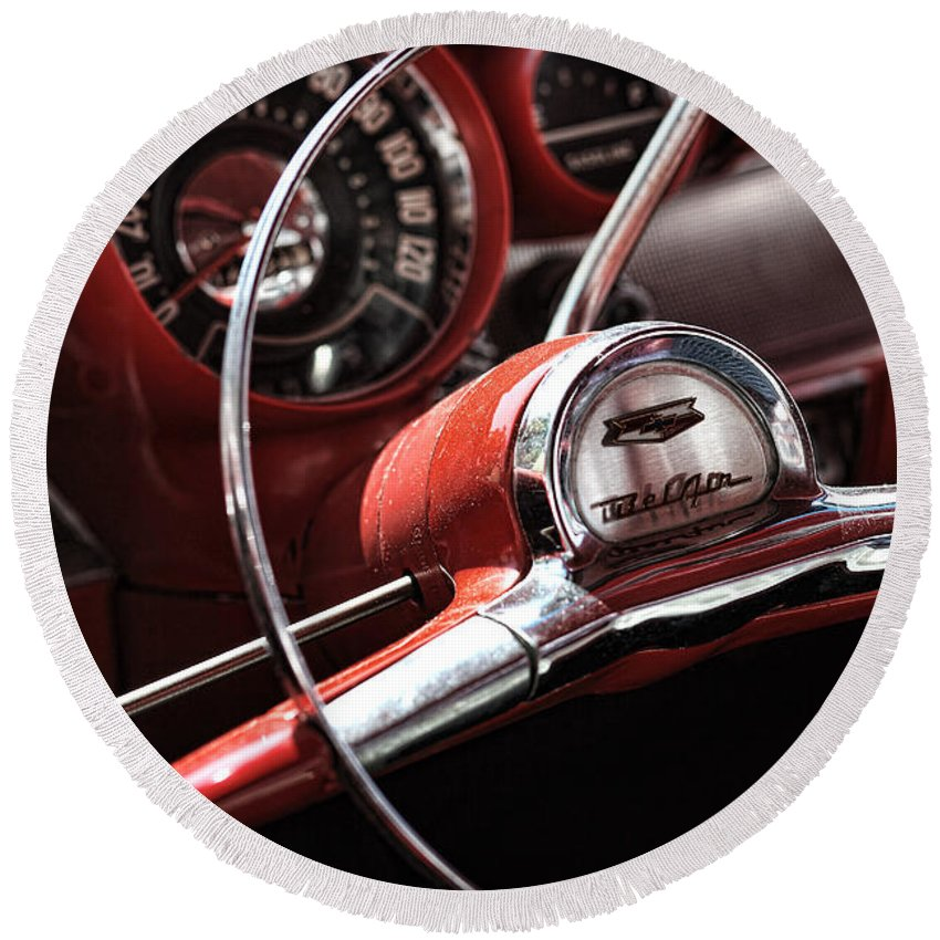 Red Round Beach Towel featuring the photograph 1957 Chevrolet Bel Air Steering Wheel by Gordon Dean II