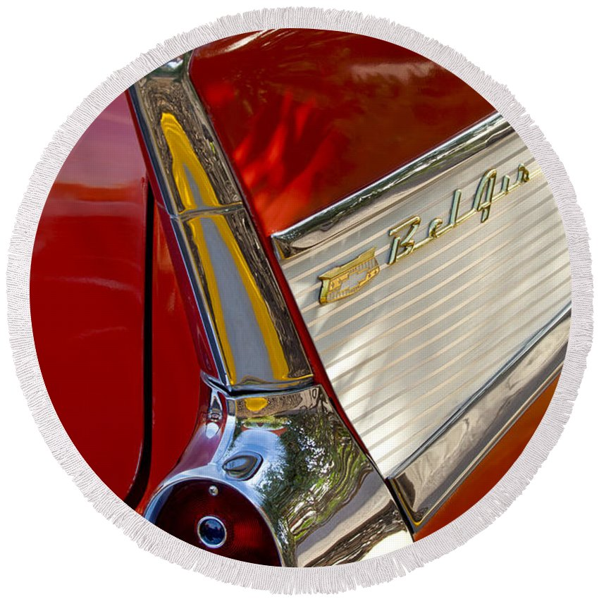 1957 Chevrolet Belair Round Beach Towel featuring the photograph 1957 Chevrolet Belair Taillight by Jill Reger