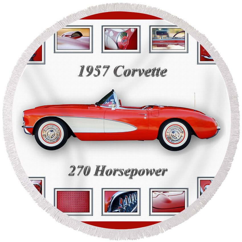 1957 Chevrolet Corvette Grille Round Beach Towel featuring the photograph 1957 Chevrolet Corvette Art by Jill Reger