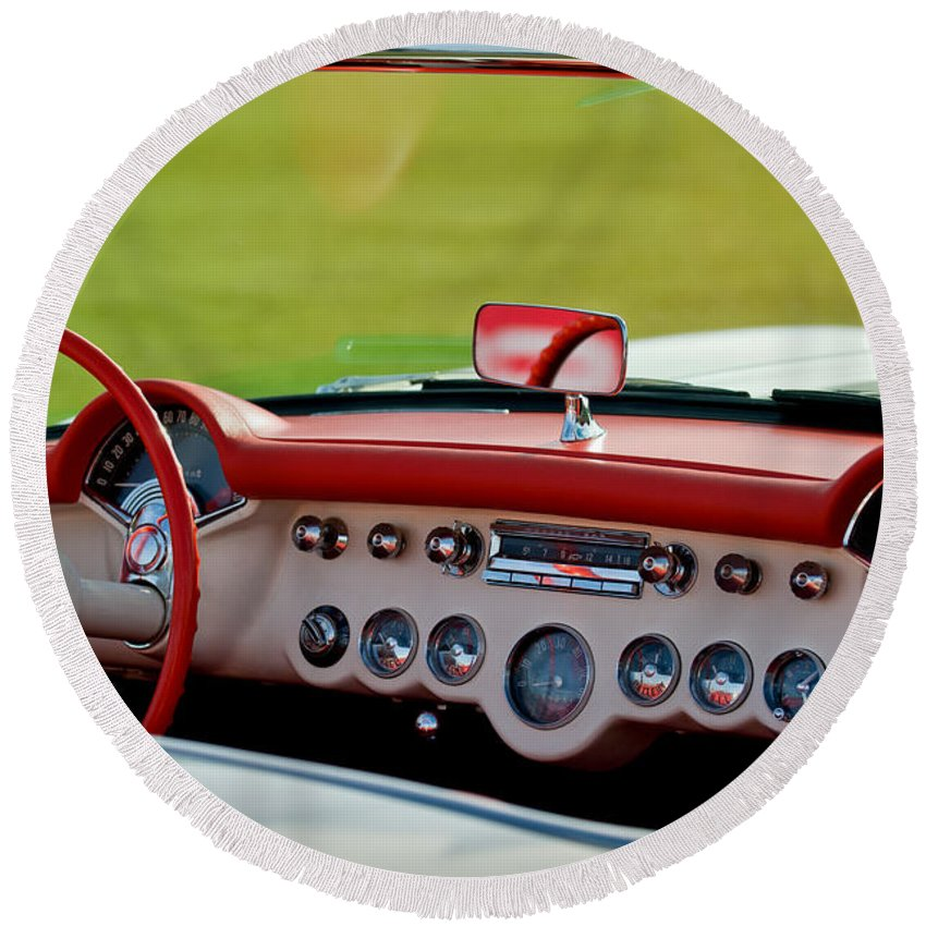 1957 Chevrolet Corvette Roadster Dashboard Round Beach Towel featuring the photograph 1957 Chevrolet Corvette Roadster Dashboard by Jill Reger