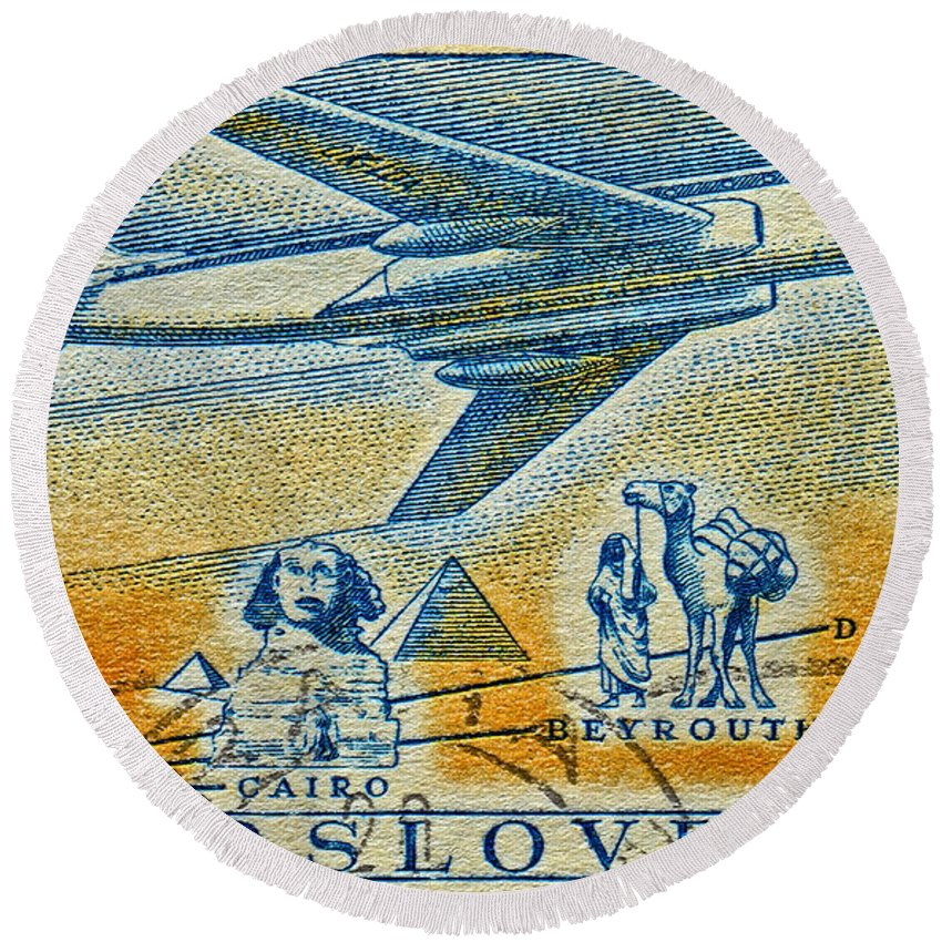 1957 Round Beach Towel featuring the photograph 1957 Czechoslovakia Airline Stamp by Bill Owen