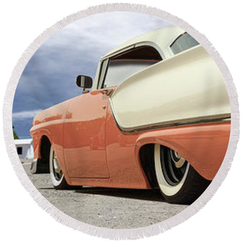 1957 Ford Round Beach Towel featuring the photograph 1957 Ford Fairlane Lowrider by Mike McGlothlen