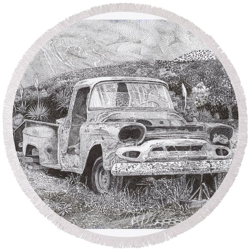 Classic 1957 Gmc Pick Up That's Seen Better Days Round Beach Towel featuring the drawing Ran When Parked by Jack Pumphrey