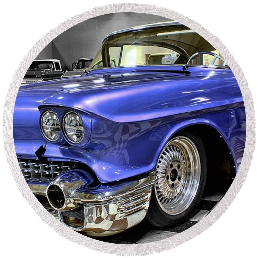 1958 Round Beach Towel featuring the photograph 1958 Cadillac Deville by Michael Gordon