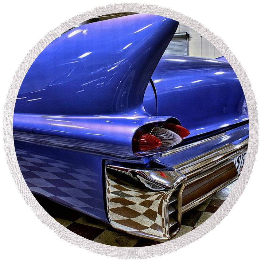 1958 Round Beach Towel featuring the photograph 1958 Cadillac Deville Rear Fin by Michael Gordon