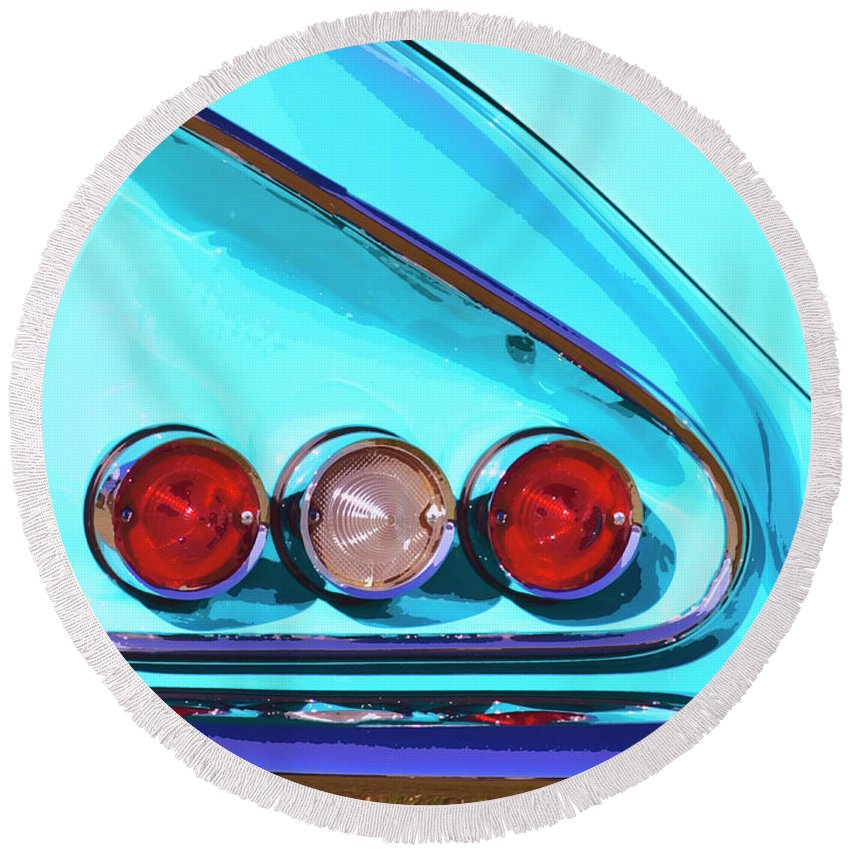 Palm Springs Round Beach Towel featuring the photograph 1958 Impala Palm Springs by William Dey