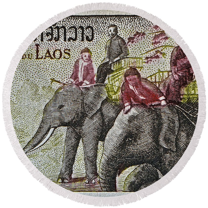 1958 Round Beach Towel featuring the photograph 1958 Laos Elephant Stamp IIi by Bill Owen
