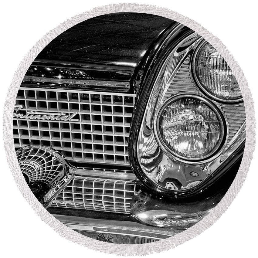 1958 Round Beach Towel featuring the photograph 1958 Lincoln Continental Headlight by Michael Gordon