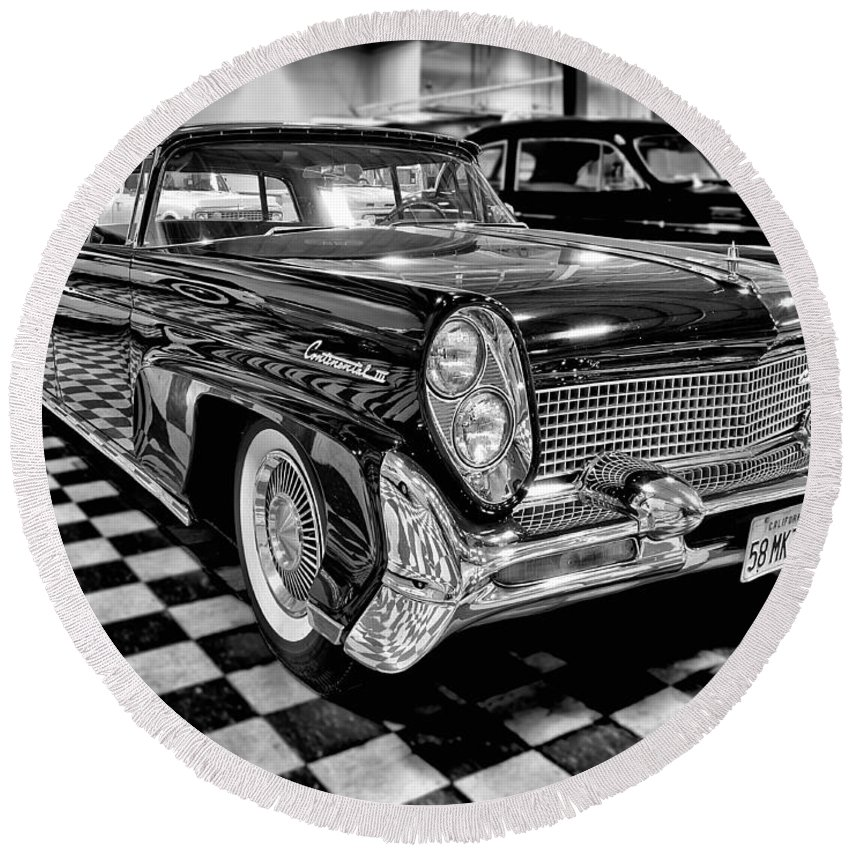 1958 Round Beach Towel featuring the photograph 1958 Lincoln Continental Mk IIi by Michael Gordon