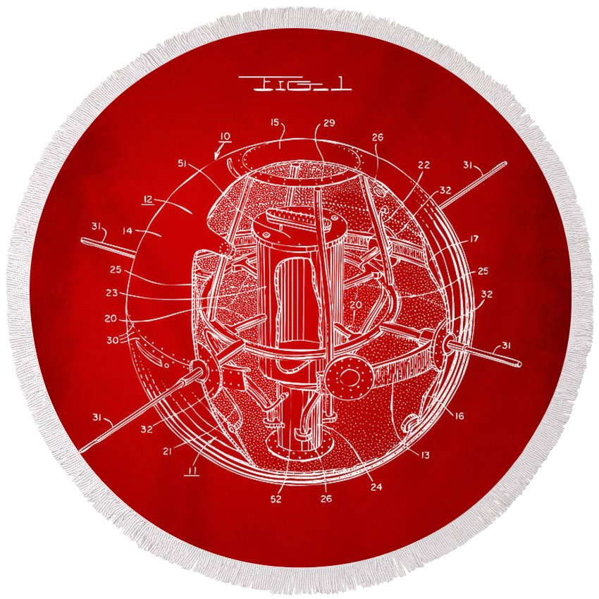Satellite Round Beach Towel featuring the digital art 1958 Space Satellite Structure Patent Red by Nikki Marie Smith