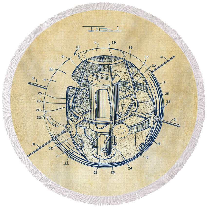 Satellite Round Beach Towel featuring the digital art 1958 Space Satellite Structure Patent Vintage by Nikki Marie Smith
