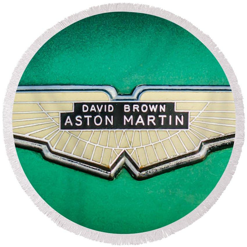 1959 Aston Martin Db4 Gt Hood Emblem Round Beach Towel featuring the photograph 1959 Aston Martin Db4 Gt Hood Emblem -0127c by Jill Reger