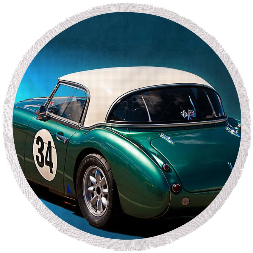 Austin Round Beach Towel featuring the photograph 1959 Austin Healey 3000 Mk1 by Stuart Row