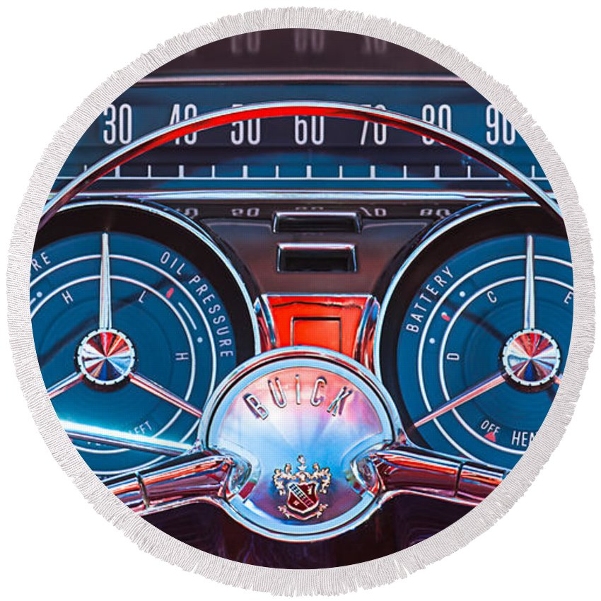 Car Round Beach Towel featuring the photograph 1959 Buick Lesabre Steering Wheel by Jill Reger