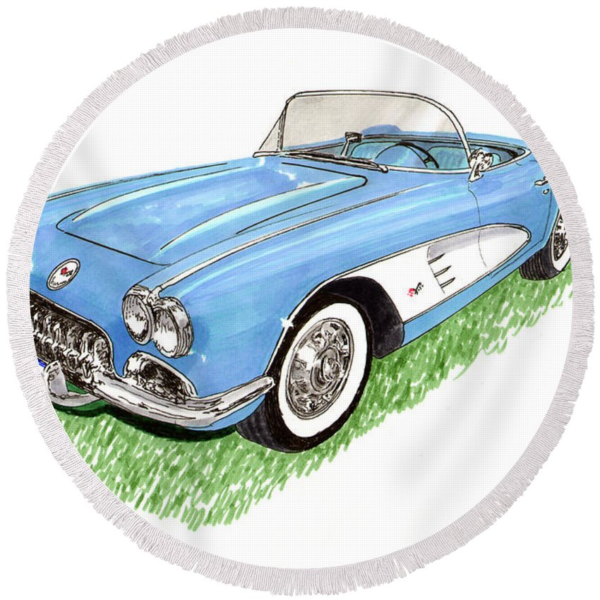 Framed Art Prints Of 1959 Corvette Frost Blue With White Coves Detailed & Ready Round Beach Towel featuring the painting 1959 Corvette Frost Blue by Jack Pumphrey