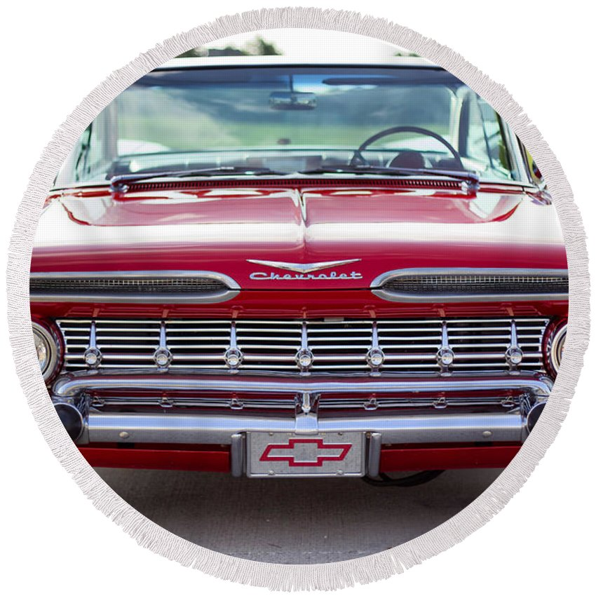 1959 Chevrolet Impala Round Beach Towel featuring the photograph 1959 Impala Hardtop Sport Coupe by Debby Richards