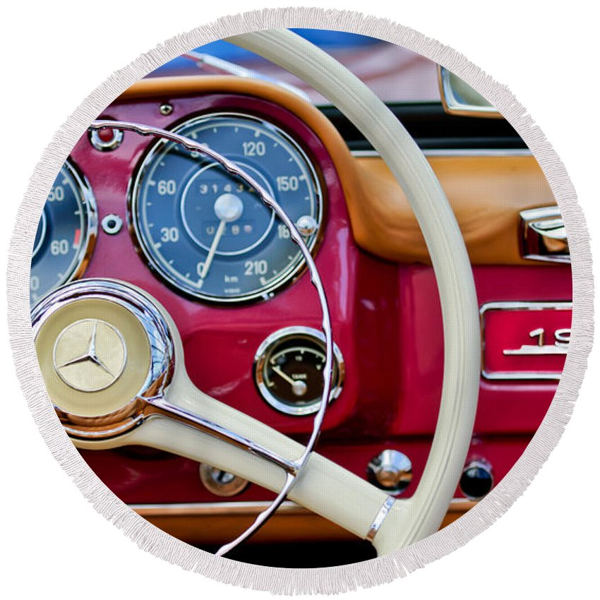 1959 Mercedes-benz 190 Sl Round Beach Towel featuring the photograph 1959 Mercedes-benz 190 Sl Steering Wheel by Jill Reger